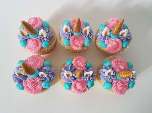 Pink, Purple, Teal Unicorn Cupcakes (1)