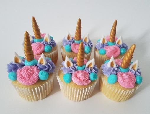 Pink, Purple, Teal Unicorn Cupcakes (2)
