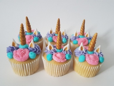 Pink, Purple, Teal Unicorn Cupcakes (3)