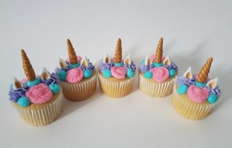 Pink, Purple, Teal Unicorn Cupcakes (4)