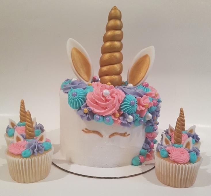 Pink, Purple, Teal Unicorn Cupcakes Cake Combo (1)