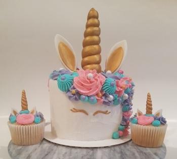 Pink, Purple, Teal Unicorn Cupcakes Cake Combo (2)