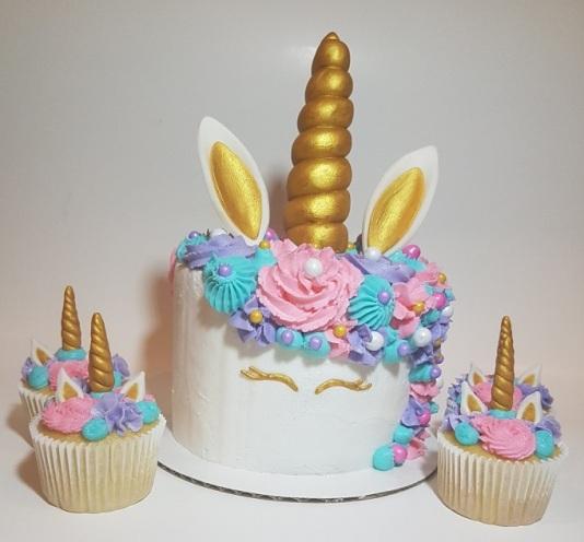 Pink, Purple, Teal Unicorn Cupcakes Cake Combo (5)