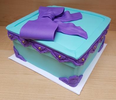 Tiffany Blue & Purple Gift Box Cake (2)