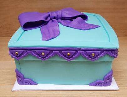Tiffany Blue & Purple Gift Box Cake (6)