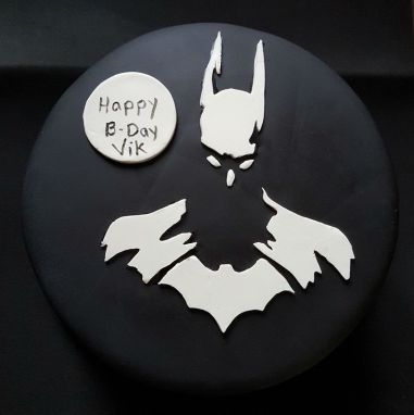 Black White Batman Cake - Vik BDay (6)