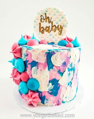 Gender Reveal Cake - Textured Buttercream - August 2020 (1)