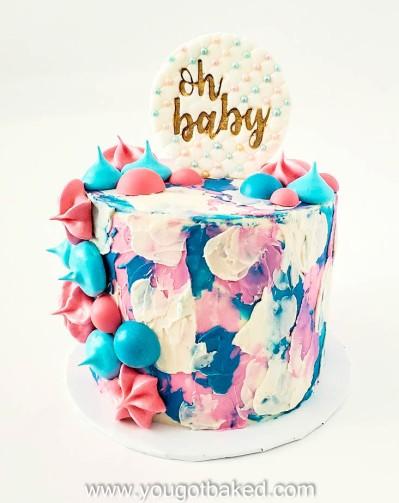 Gender Reveal Cake - Textured Buttercream - August 2020 (2)